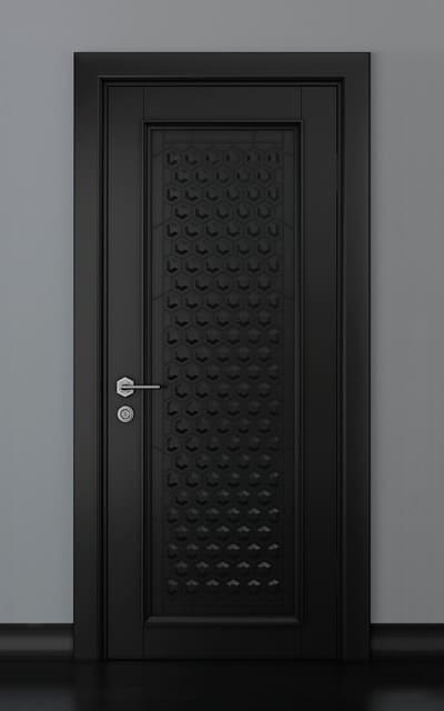 Чорні глухі авторські двері масив ясену