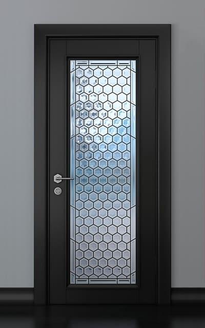 Чорні авторські двері зі склом масив ясену