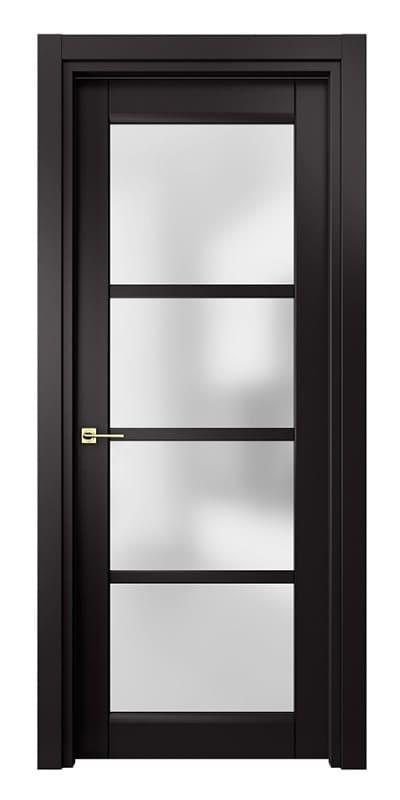 Чорні елегантні міжкімнатні двері зі склом модель «Matrix»