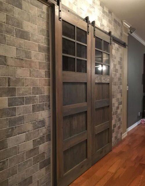 Роздвижні подвійні міжкімнатні двері з дерева у стилі Лофт зі склом